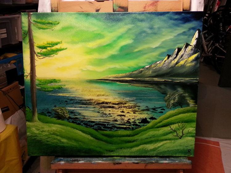 Wolken, Ölmalerei, Kalt, Grün, Wasser, Atmosphäre