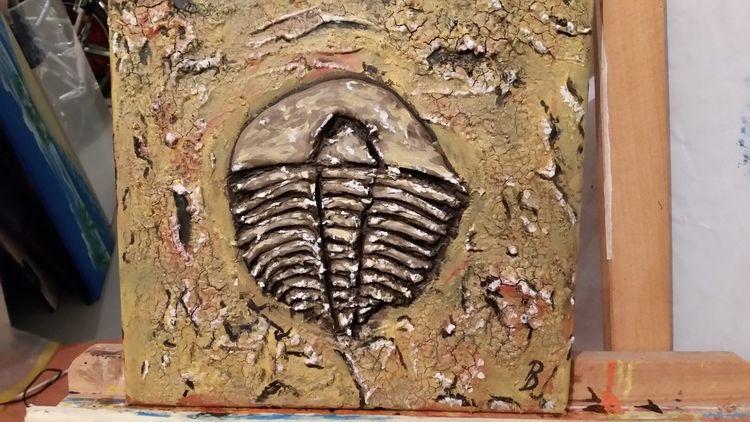 Fossilien, Tiere, Acrylmalerei, Dinosaurier, Trilobit, Versteinerung