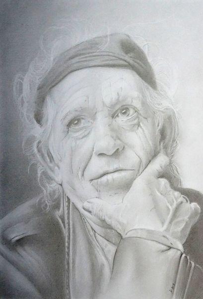 Handzeichnung, Zeichenkarton, Richards, Portrait, Bleistiftzeichnung, Zeichnungen