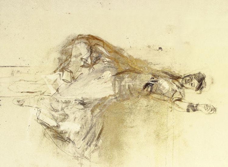 Bleistiftzeichnung, Figur, Figural, Frau, Portrait, Wasserfarben