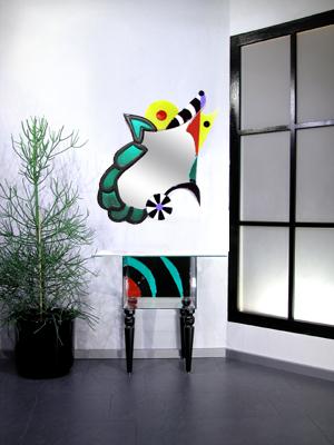Modern, Design, Glas, Designspiegel, Spiegel, Abstrakt