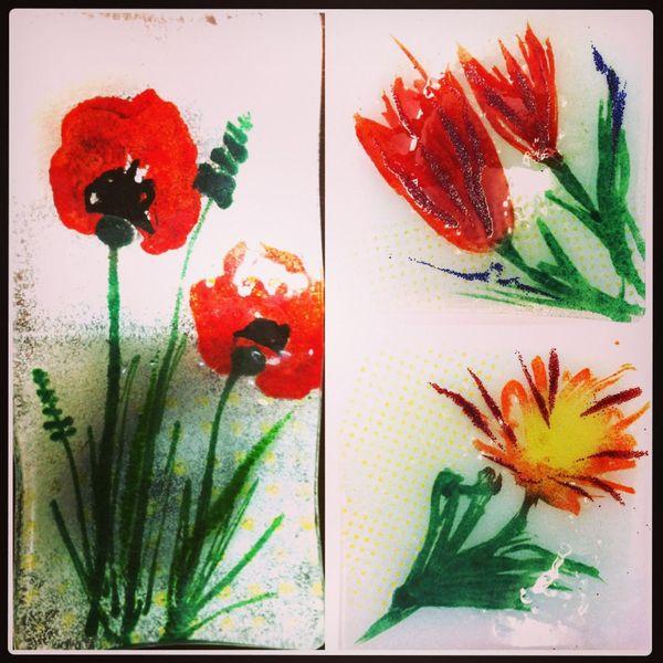 Schale, Blumen, Glasschale, Bunt, Glas, Mohn