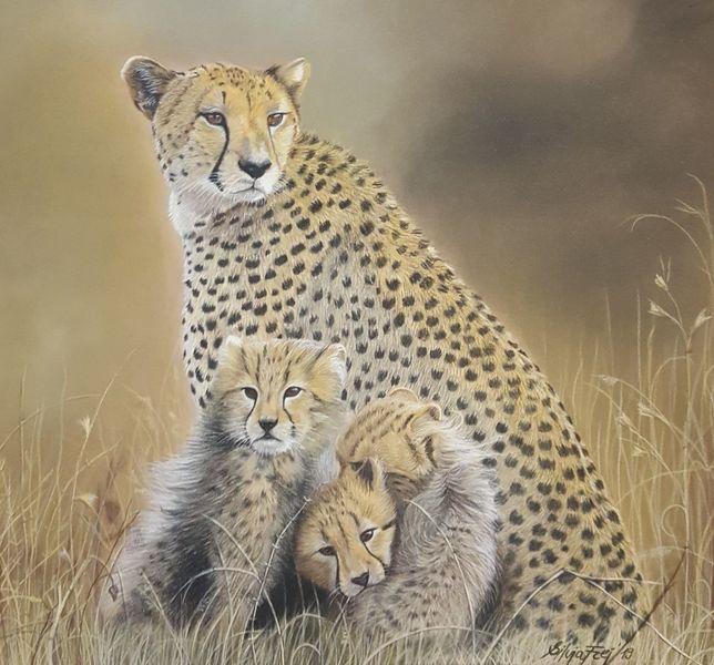 Gepard, Pastellmalerei, Zeichnungen, Wildtiere,
