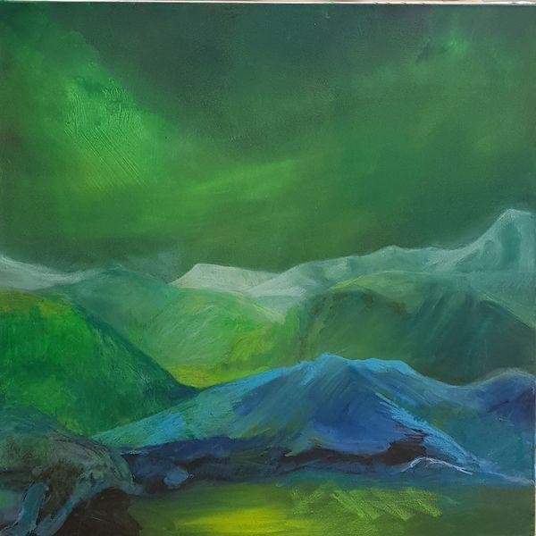Berge, Bergsee, Polarlicht, Licht, Nordlichter, Malerei
