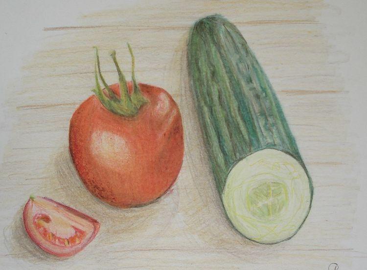 Stillleben, Buntstiftzeichnung, Gemüse, Zeichnungen