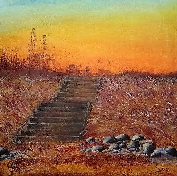 Haus, Abstieg, Malerei, Struktur, Wiese, Orange