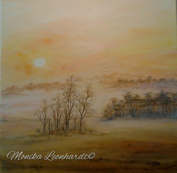 Malerei, Natur, Nebel, Acrylmalerei, Mystik, Erwachen