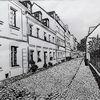 Straße, Häuser, Federzeichnung, Schwarz
