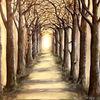 Allee, Herbstwald, Landschaftsmalerei, Natur