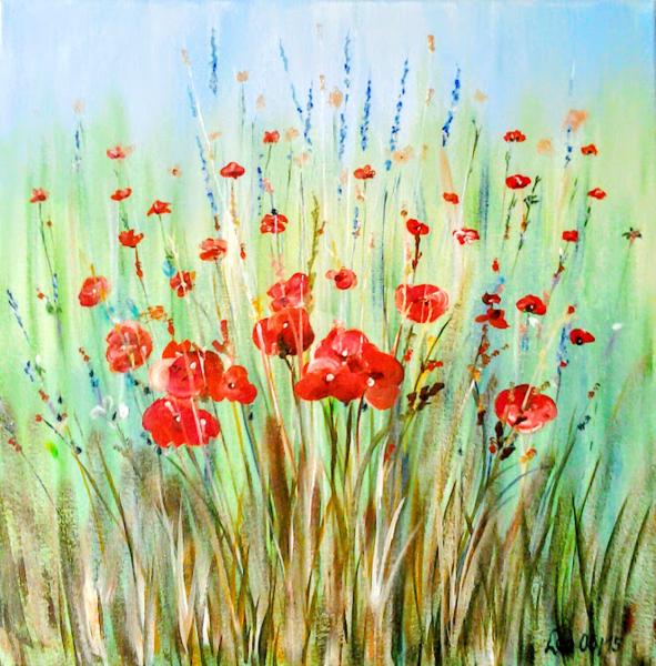 Sommer, Landschaft, Acrylmalerei, Natur, Malerei, Wiese