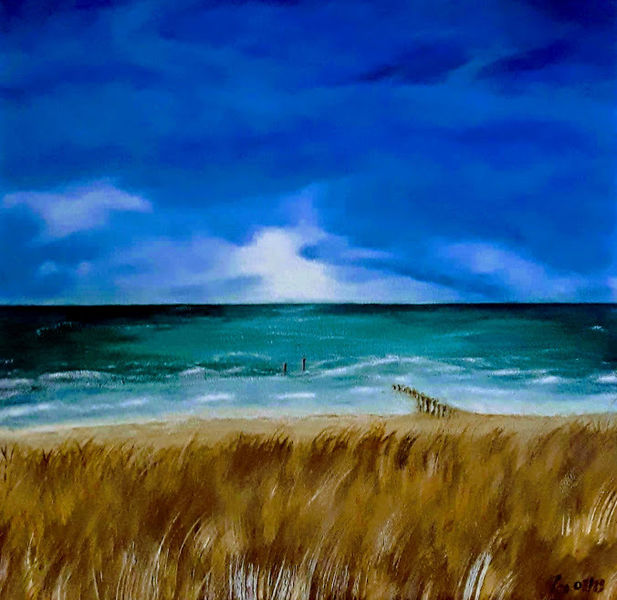 Wasser, Sand, Landschaftsmalerei, Dünen, Stimmung, Acrylmalerei