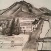 Landschaft, Haus, Bleistiftzeichnung, Bayer