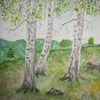 Birkengruppe, Landschaft, Aquarellmalerei, Malerei