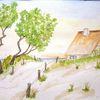 Aquarellmalerei, Strand, Haus am meer, Ostsee