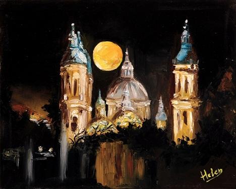 Basilika, Svhwart malerei, Nacht, Malerei,