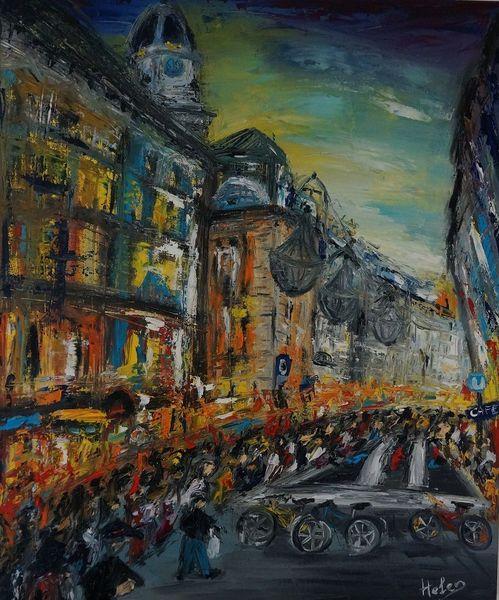 Blau, Stadtlandschaft, Stadt, Ölmalerei, Wien, Rot