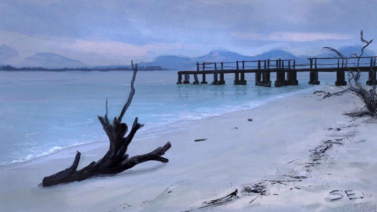 Einsamkeit, Sonnenuntergang, Meer, Pfeiler, Strand, Blaue stunde