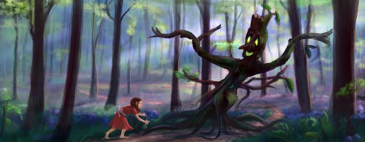 Wald, Mädchen, Waldgeist, Frühling, Digitale kunst,