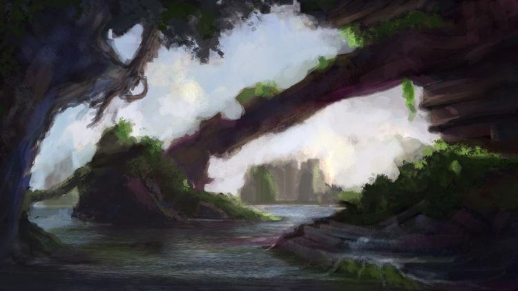 Wildnis, Felse, Fantasie, Wasser, Sonnenaufgang, Digitale kunst