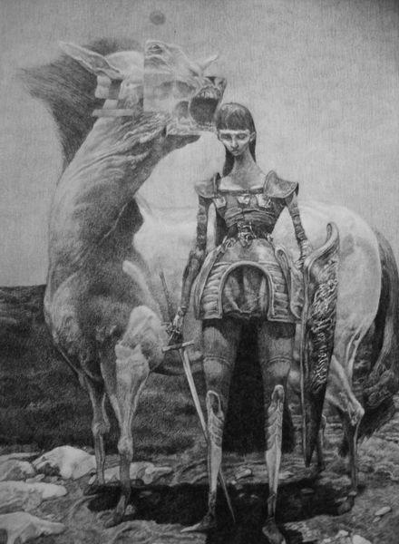 Menschen, Pferde, Ritter, Surreal, Zeichnung, Fantasie