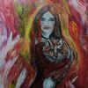 Mädchen, Fantasie, Mit fuchs, Rot