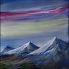 Berge, Wolken, Schnee, Malerei