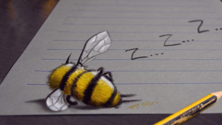 Optische täuschung, Malen, 3d zeichnen, Speed drawing, Biene, Zeichnen