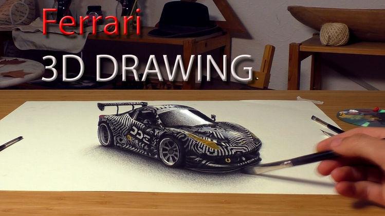 Zeichnen lernen, Gemälde, Tipp, Optik, Ferrari, Auto