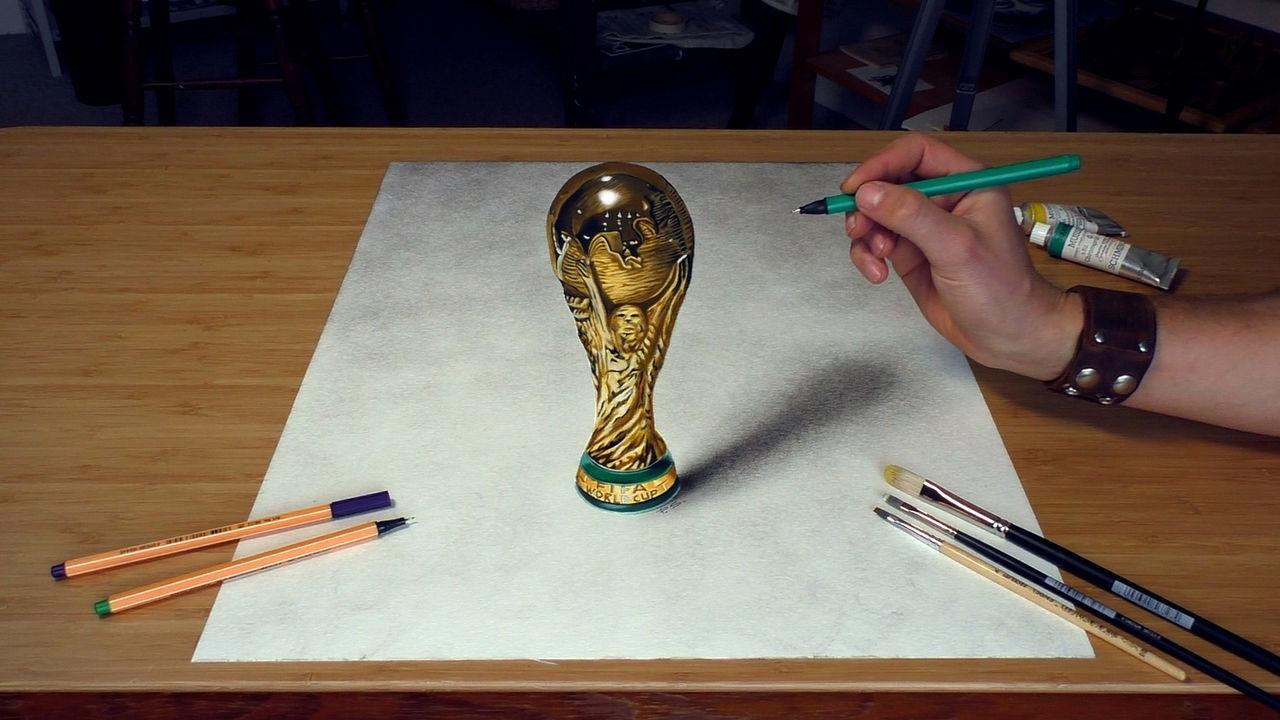 Wm Fussbal Pokal 2018 Malen 3d Malerei 3d Zeichnen Trick Art