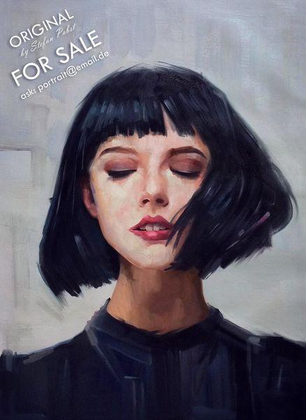 Junge, Augen, Impressionismus, Gemälde, Frau, Mädchen