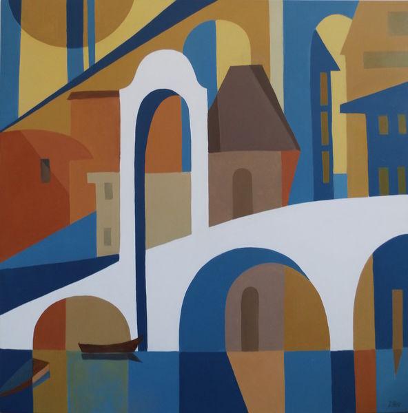Gemälde, Abstrakt, Ölmalerei, Weiß, Malerei, Brücke