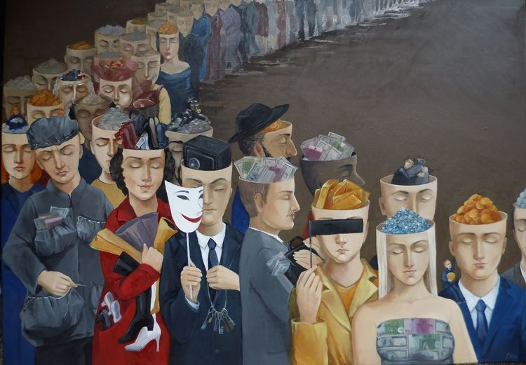 Ölmalerei, Malerei, Wandmalerei, Gemälde, Gier, Parade