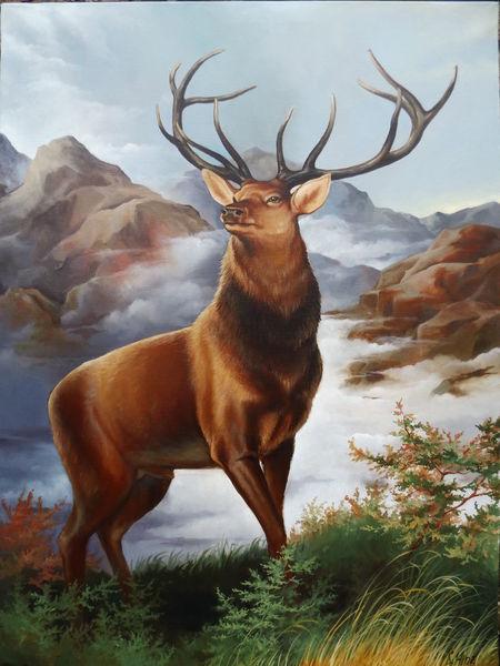 Wandmalerei, Ölmalerei, Natur, Malerei, Hirsch