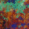 Ölmalerei, Grün, Spachtel, Blau