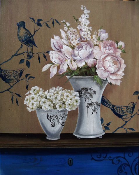 Natur, Gemälde, Ölmalerei, Blumen, Weiß, Rose