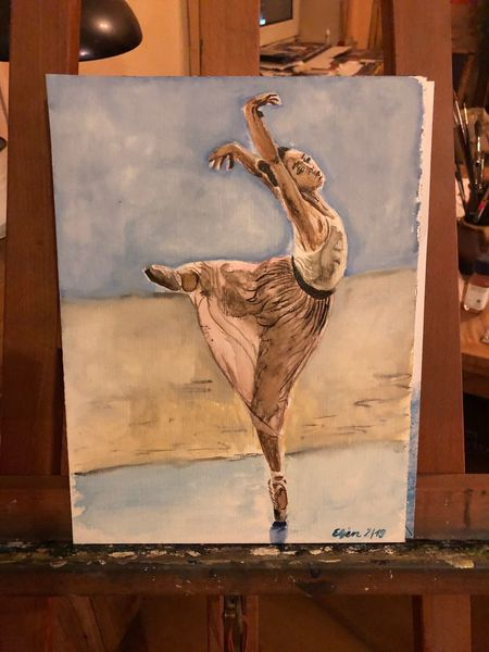 Ballerina, Frau, Ballett, Tanz, Aquarell
