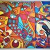 Abstrakt, Bunt, Vogel, Fisch