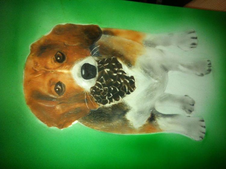 Hund airbrush, Malerei