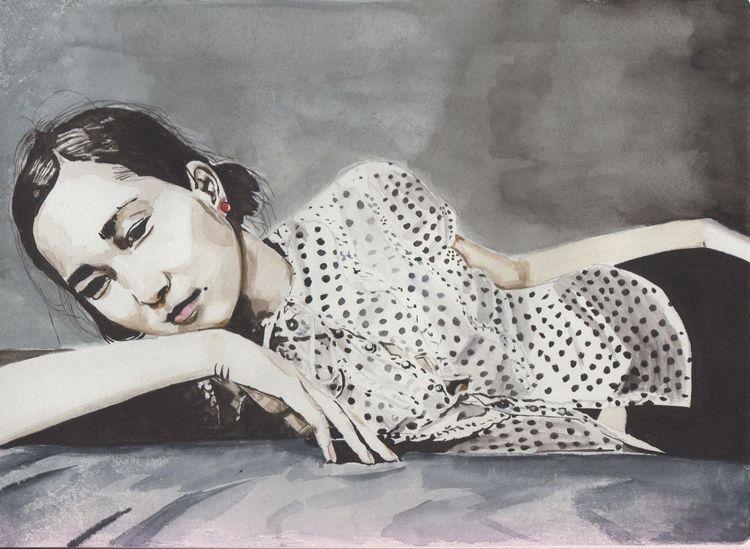 Portrait, Aquarellmalerei, Aquarell, Verträumt
