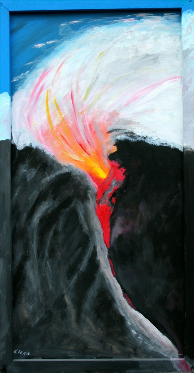 Vulkanausbruch - Rahmen bemalt, Acrylmalerei, Malerei von chbadura ...