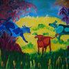 Tiere, Kuh, Bunt, Mischtechnik