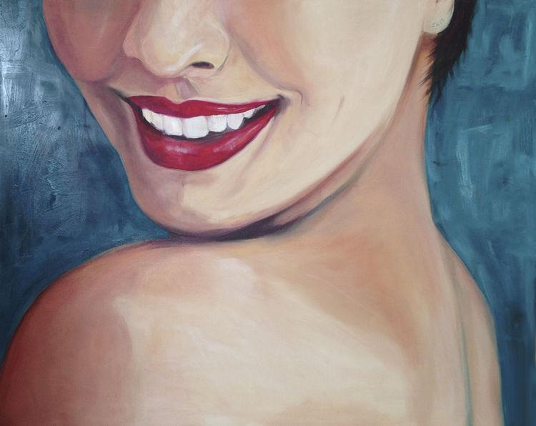 Lippen, Figural, Portrait, Lächelnde, Lachen, Rot