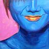 Pink, Blau, Figural, Ölmalerei