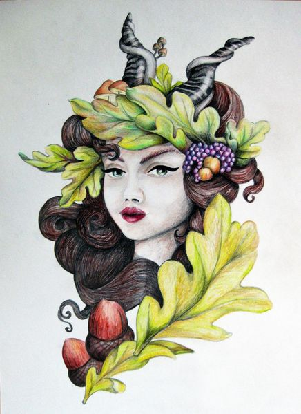 Horn, Weintrauben, Blätter, Herbst, Zeichnungen