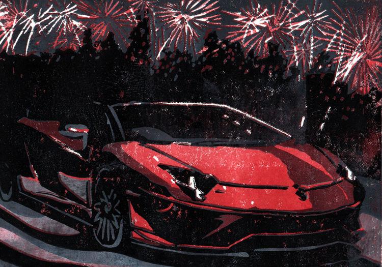 Sportwagen, Lamborghini, Aventador, Druckgrafik