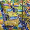Taxi, Gelb, Straße, Stau