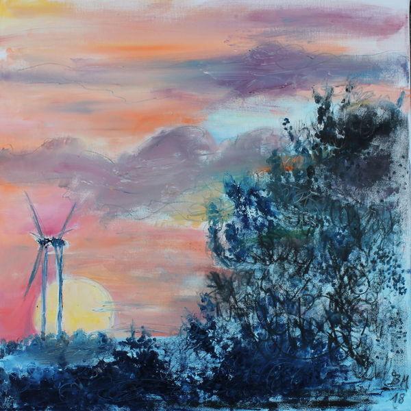Windrad, Windkraft, Wind, Malerei
