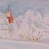 Architektur, Aquarellmalerei, Winter, Aquarell