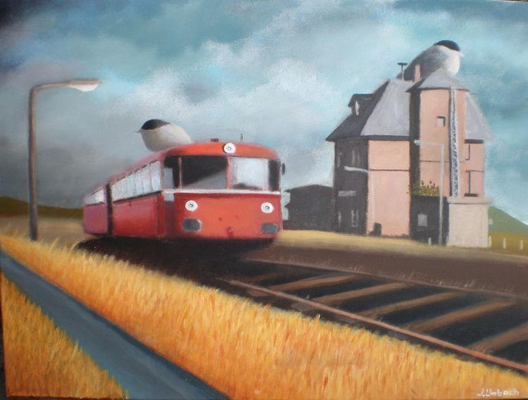 Zug, Wolken, Surreal, Vogel, Malerei, Bahnhof