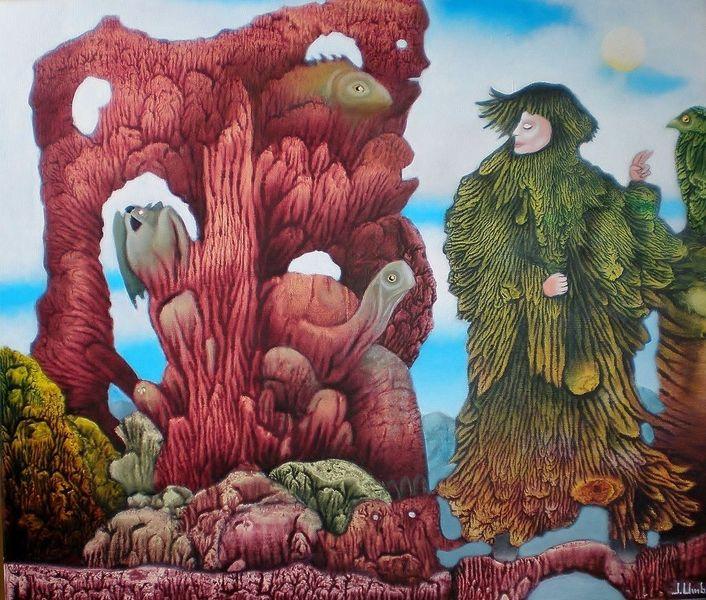 Felsen, Surreal, Fisch, Gemälde, Schildkröte, Décalcomanie